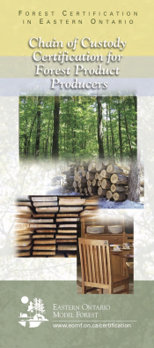 Forest Certification in Eastern Ontario: Chain of Custody Certification for Forest Product