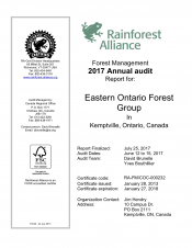 Forest Management: 2017 Annual Audit for Eastern Ontario Forest Group