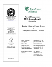 Forest Management: 2019 Annual Audit for Eastern Ontario Forest Group