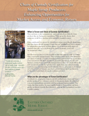 Chain of Custody Certification for Maple Syrup Producers: Enhancing Opportunities for Market Access and Economic Return