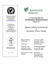 Forest Management: 2018 Reassessment Audit for Eastern Ontario Forest Group