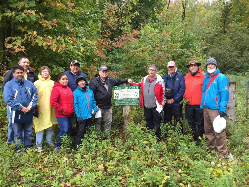 North American Silviculture Working Group members, representing Canada, Mexico and the United States, visiting one of South Nation Conservation Forest properties with Pat Piitz, Forest Manager.